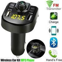 Dual USB Bluetooth4.1 Handsfree Car Kit Charger FM Transmitter Player MP3 L8T8