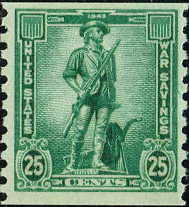 #WS13 1943 25c SAVINGS STAMPS COIL ISSUE MINT-OG/NH