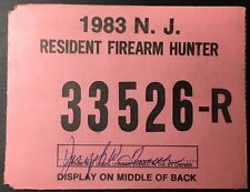 New Jersey 1983 Resident Firearm Hunting License - Excellent condition - NJ