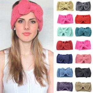 Big Bows Crochet Turban Winter Ear Warmer Handmade Knitted Hairband Head Wrap