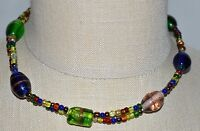 VTG Gold Tone Multi-Color Swirl Art Glass Beaded Choker Necklace