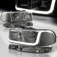 For 1999-2006 GMC Sierra 1500 2500 DRL LED Smoke Clear Headlights+Bumper 4PCS