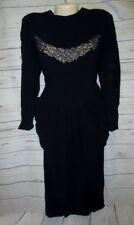 Vtg Saks Fifth Avenue 30's 40's Black Dress Side Hip Sash Swag Bead & Lace 5th