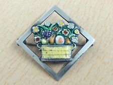 ANTIQUE ART DECO SILVER & ENAMEL FLOWER BASKET BROOCH PIN 1920