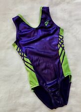 GK ELITE gymnastics LEOTARD Purple Green RIBBON Sporty BODYSUIT Tank LEO Sz: AS