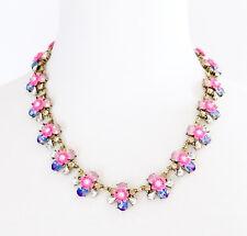 BLUE RHINESTONE ROSE PINK FLOWER Gold Designer Collar Pendant Statement Necklace