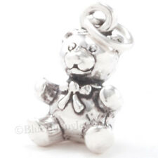 3D TEDDY BEAR w BOW Toy Bracelet Charm Pendant 925 STERLING SILVER Solid & Cute!