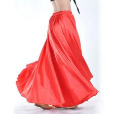 360~720 Full Circle Satin Long Skirt Swing Belly Dance Costumes Tribal Skirts AA