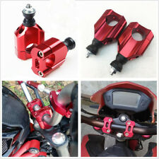 "One Pair Red CNC Metal 1 1/8"" 28mm Motorcycle Handlebar Mount Riser Clamp Risers"