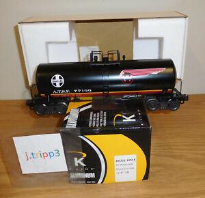 K-LINE K6332-1051 SANTA FE BLACK WARBONNET O SCALE TRAIN ALUMINUM TANK CAR 77199