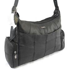 Womens CowHide Genuine Real Leather Lorenz  Organizer Shoulder Bag Handbag BK