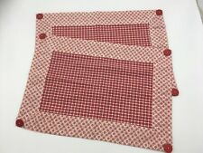 April Cornell placemat X 2. Red and white checked with pattern border. Buttons,
