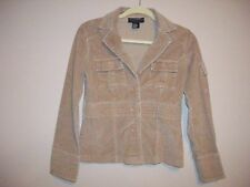 Outer Edge Womens Size S Solid Beige Corduory Short Coat Long Sleeves