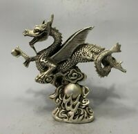 21cm Collect feng shui Silver copper Flying dragon loong big statue lucky decor