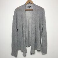 Eileen Fisher Size M Medium Cardigan Sweater Gray Crinkle Open Front Long Sleeve