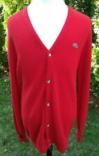 Vintage Izod Lacoste Cardigan Red Button Alligator Grandpa Sweater - Large Tall