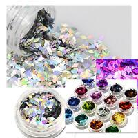 Rhombus Sequins Confetti Tips Nail Art Laser Glitter Decor Polish DIY Nail Tool