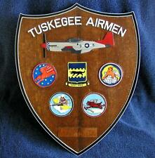 Tuskegee HAND CARVED/PAINTED Wood Wall Plaque - P-51 Mustang