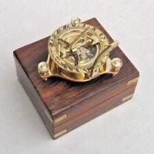 "3"" NAUTICAL SUNDIAL COMPASS IN WOODEN BOX COMPASS MARITIME NAVIGATION REPLICA"