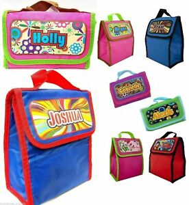 BOY'S Personalised Holographic Insulated Lunch Bag Box Packed Lunch School