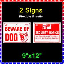 "2 Signs -1 Beware of Dog & 1 Security Camera 24 H Surveillance  9""x12""  Plastic"
