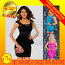 Short Sleeve Round Neck Lace Peplum Sexy Mini Elastic Bodycon Formal Party Dress
