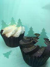 100 Mini Edible Wafer Paper Green Christmas Tree Cupcake Cake Toppers - PRECUT