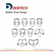 DENTAL RESTORATIVE SET OF 10 RUBBER DAM CLAMPS *GERMAN STEEL CE NEW* COLLIERS