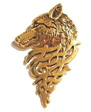 GOLD WOLF'S HEAD PIN lapel brooch husky dog tribal design coyote werewolf G4
