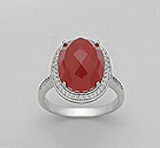 Solid Sterling Silver Sparkling Carnelian Vintage Glam Ring $225 sz7