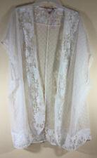 NWT Victorias Secret Kimono Robe Cover Up White Floral Design Lingerie M/L