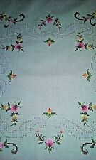 """Table cloth, 32"""" Square, Hand Embroidered, Ivory with flowers"""