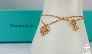 Tiffany & Co. 18K Yellow Gold 0.21CTW Diamond Love Heart Tag Keys Bracelet
