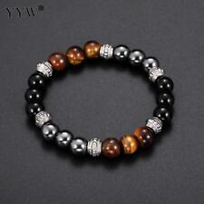 Brand New Fashion Health Men Bracelet 8mm Agat Stone Beads With Hematite Bead