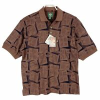 Vintage 90s Dockers Mens Large Polo Golf Shirt Brown Black All Over NOS L New