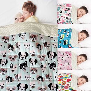 Kids Child Weighted Blanket Therapeutic  Sensory Bedding Throw Soft Fleece Back