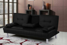 Cinema Sofa Bed With Cup Holder Includes 2 Cushions Available in 8 Colours Black