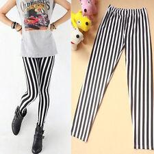 Fashion Skinny Chic Look Vertical Stripe Zebra Leggings Pants Autumn Black&White