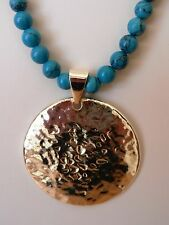 Barse Genuine Silvertone and Turquoise Beaded Pendant Necklace MSRP $28