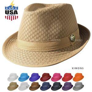 Light Weight Mesh Fedora hat Soft Cool Summer Classic Trilby Cuban Beach Sun Cap