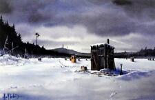 "Les Kouba ""Winter Fishing Memories"" Ice Fishing Print 12"" x 8"""