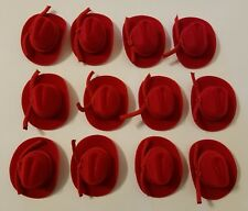 "Lot of 12 Miniature Doll Red 2"" Felt Cowboy Western Hat with Rope Band Crafts"
