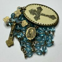 "† BLESSED PARDON CROSS 1905 BADGE BUY BLUE GLASS ROSARY LAYERD CRUCIFIX 30"" †"