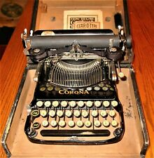 ANTIQUE PORTABLE FOLDING TYPEWRITER *CORONA #3*  WOODCASE,TOOL, PAPERWORK c.1910