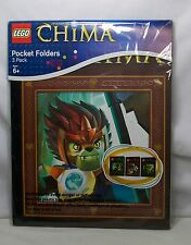 "Lego Legends Of Chima Notebook Pocket Folders - Package Of 3 - *New* 12"" x 9.25"""