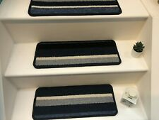 14 x Carpet Stair Case Treads Stain Free mexico blue stripe Pads 14 Large Pads