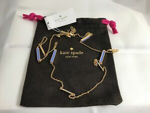 """NWT New Kate Spade RAISING THE BAR 34"""" Adjustable Necklace Blue with Dust Bag"""