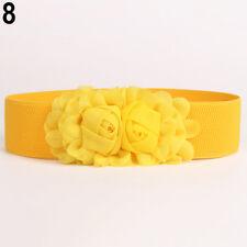 EG_ Women Girl Wide Stretch Elastic Waist Belt Solid Color Flower Waistband Nove