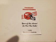RS20 Calgary Stampeders 1990 CFL Football Pocket Schedule - OV