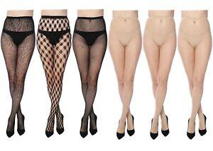 Women Fishnet Lace Stocking Tights Pantyhose Regular & Plus Sizes 22-2 (6-Pairs)